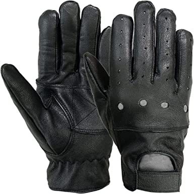 Mens Soft Leather Gloves 100/% Genuine Leather Driving Gloves Comfort Strap