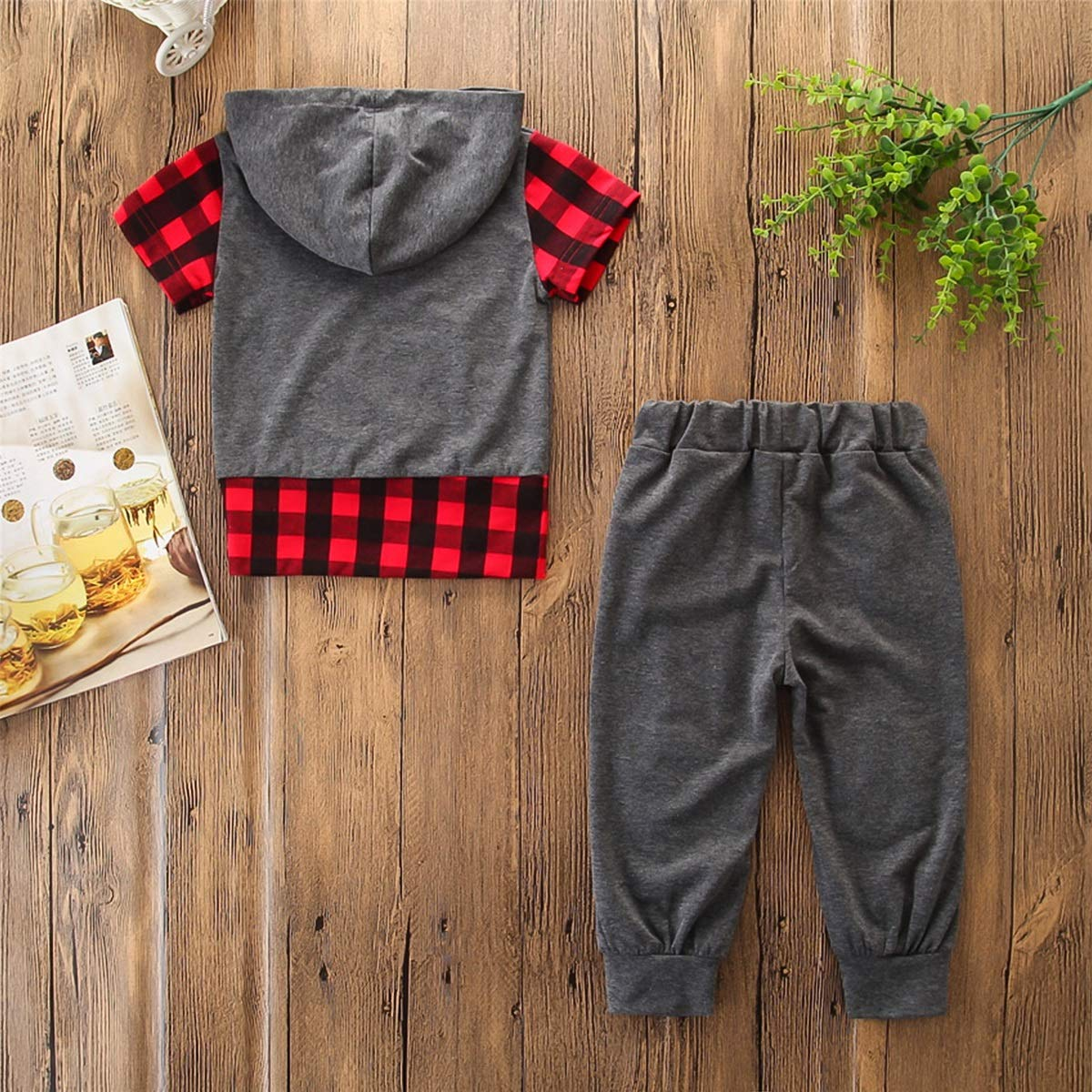 Kids Boy Casual Outfit Clothing Hooded Hoodie Top Pants 2PCS