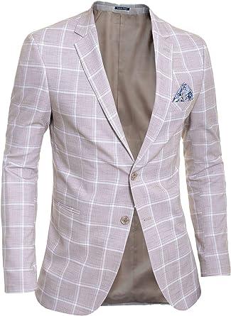 D&R Fashion Hombre Chaqueta Blazer Casual Formal Patrón Cuadros ...