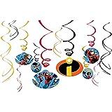 12 Disney Pixar Incredibles 2 Superhero Birthday Party Hanging Cutout Swirls