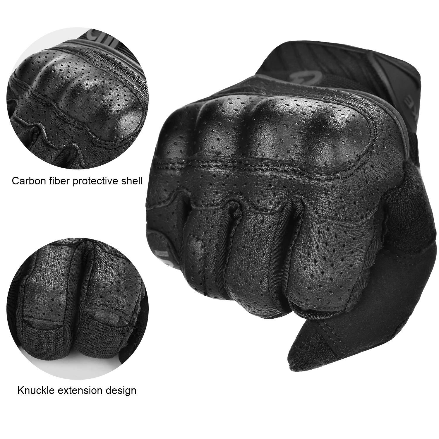 INBIKE Motorcycle Gloves Leather Motorbike Glove Mens Motocross Protective Full Finger Touch Screen Riding Green Womens M