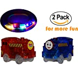 Replacement Toy Car Blue and Red Train (2-Pack) with 5 LED Lights Compatible with Most Tracks Including Magic Tracks for Boys and Girls