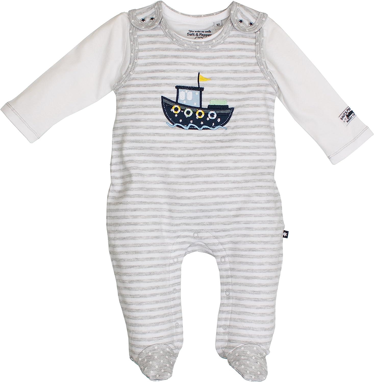 SALT AND PEPPER Baby-Jungen Nb Playsuit Ready Stripe Strampler