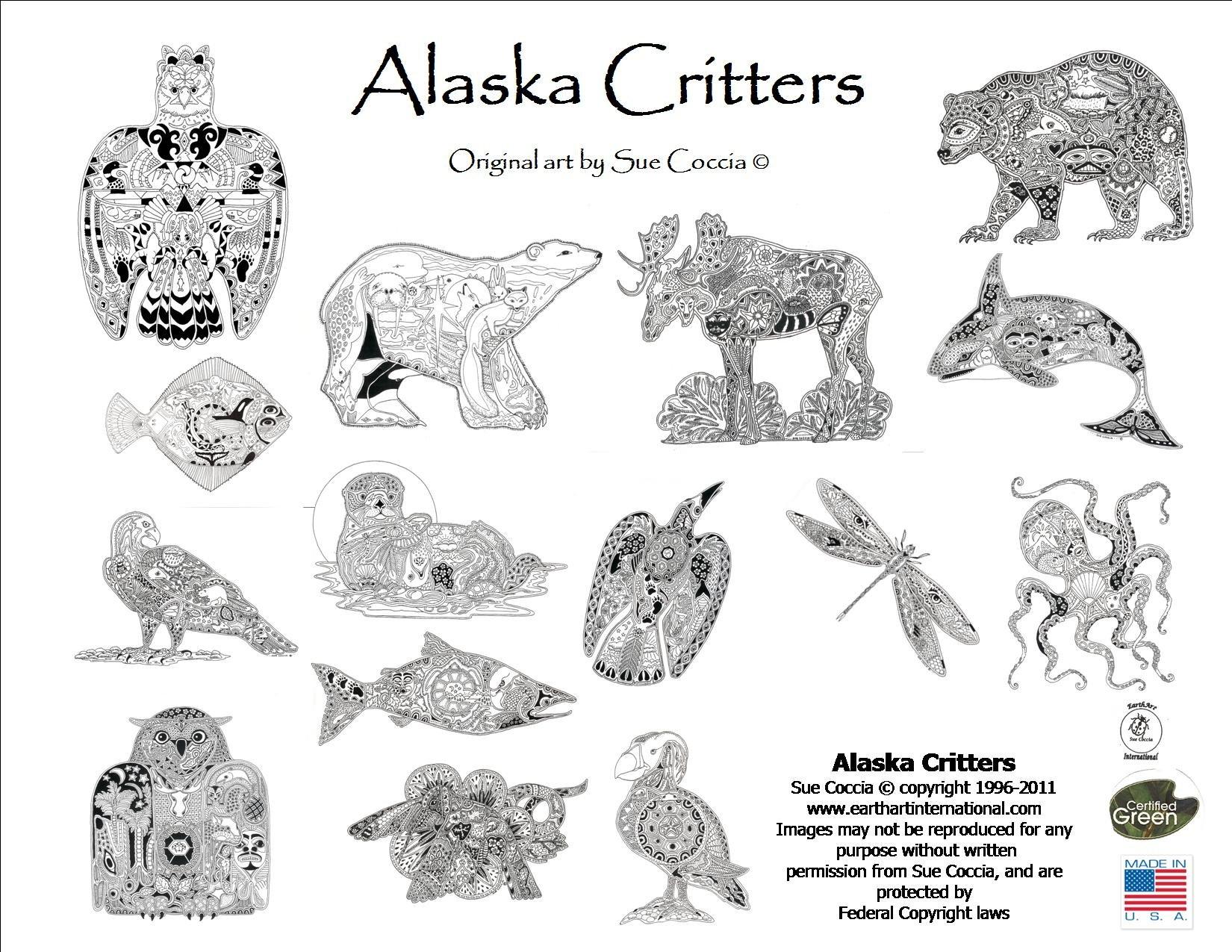 Alaska Critters Coloring Book Sue Coccia Amazoncom Books