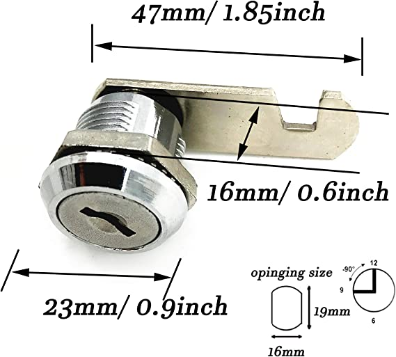 2Pcs/ XMHF 16mm Cylinder Cam Lock Mailbox Cabinet Cupboard Drawer Furniture Tool Box Locker,90 Degree Rotation,Opens Counter-Clockwise Keyed Different