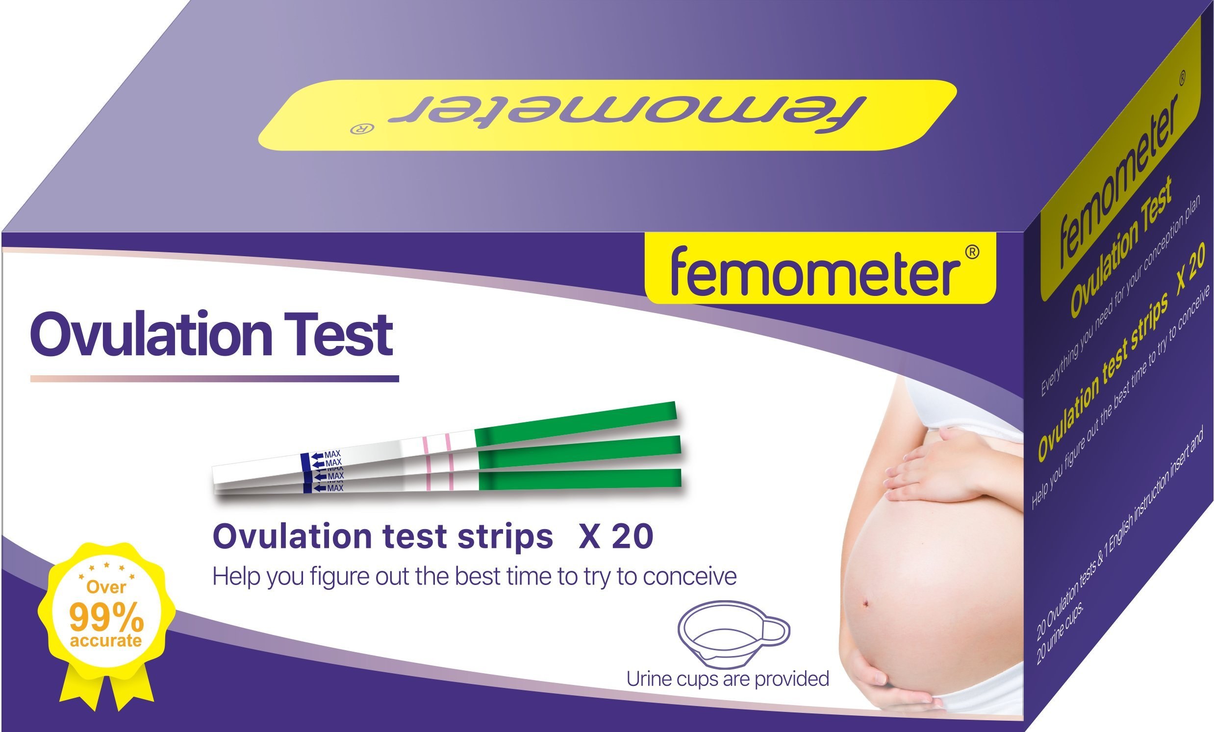 Femometer 20 Ovulation Test Strips Kit with 20 Urine Cup (20LH) with App (iOS & Android) Automatically Recognizing Test Results by BONGMI (Image #2)