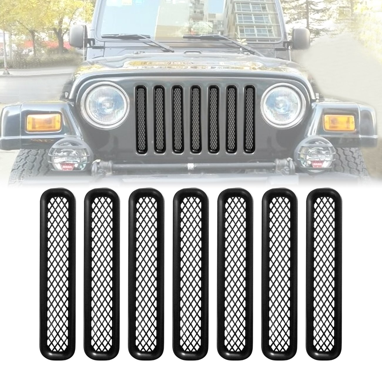 7PCS ICARS Matte Black Mesh Grill Inserts Grille Guard Square Style for 1997-2006 Jeep Wrangler TJ Unlimited Rubicon Sahara