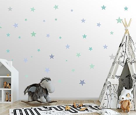50 Sterne Wandtattoo fürs Kinderzimmer - Wandsticker Set – Pastell Farben, Baby Sternenhimmel zum Kleben Wandaufkleber Sticke