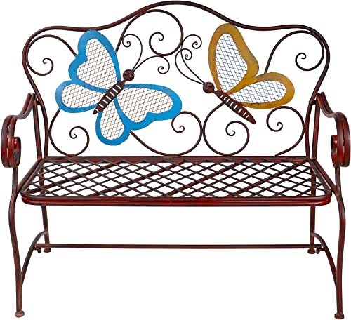 Alpine Corporation Butterfly Garden Bench – Outdoor Decor for Backyard, Patio, Deck, Garden – Bronze