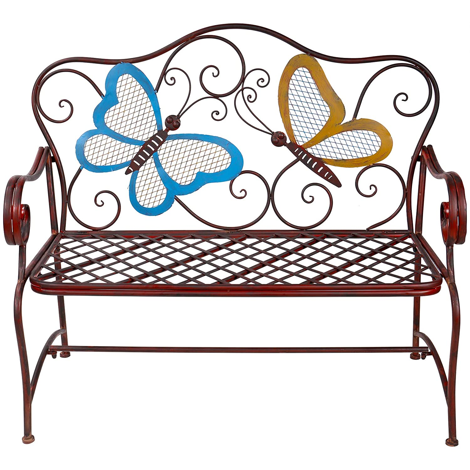 Amazing Alpine Corporation Butterfly Garden Bench Outdoor Decor For Backyard Patio Deck Garden Bronze Pabps2019 Chair Design Images Pabps2019Com