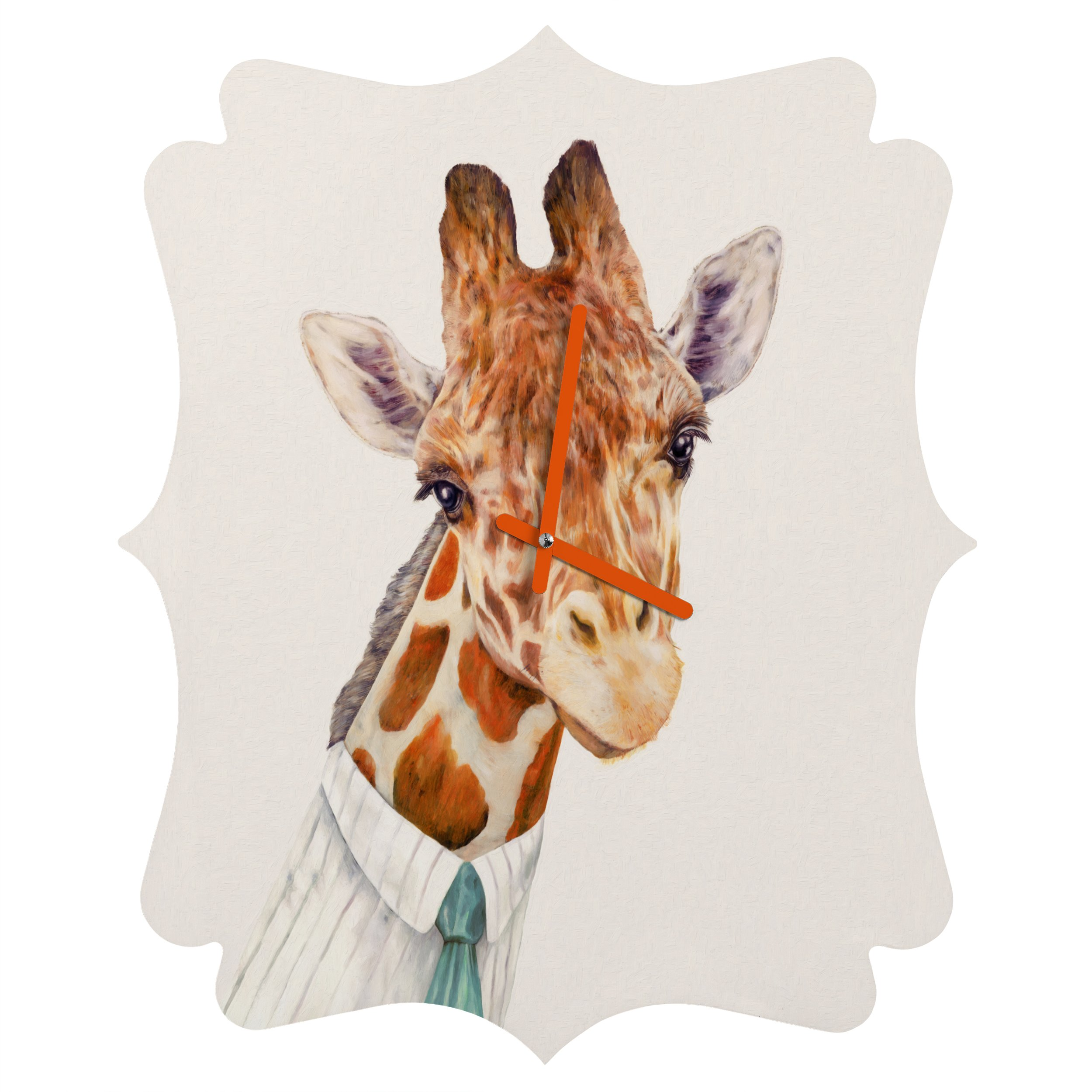 Deny Designs Animal Crew, Mr.Giraffe, Quatrefoil Clock, Small