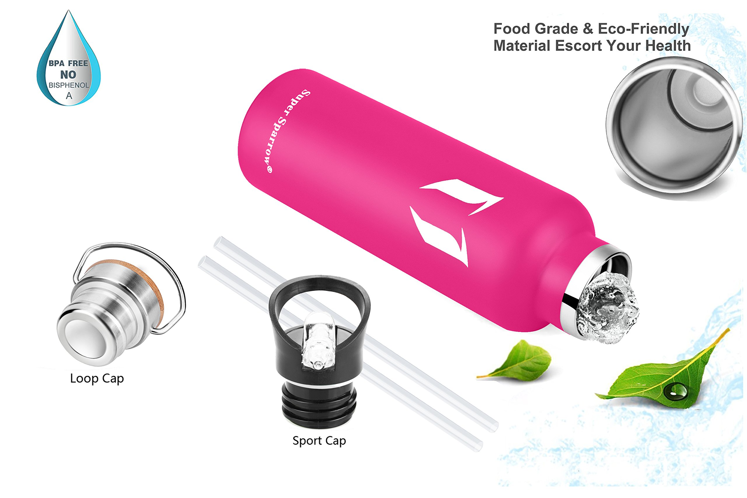 dfa2d34ccd Super Sparrow Stainless Steel Vacuum Insulated Water Bottle, Double Wall  Design,Standard Mouth - 500ml & 750ml - BPA Free - with 2 Exchangeable Caps  + ...