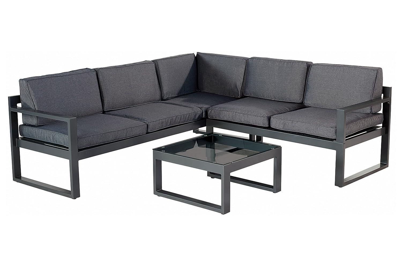 HARTMAN Perpignan Loungeset in xerix grau inkl. Tisch mit Spraystoneplatte, hochwertiges Aluminium für 5 Personen, 70 x 214 x 79 cm, inkl. Kissen, mit Klappfunktion, 3-fach verstellbares Seitenteil