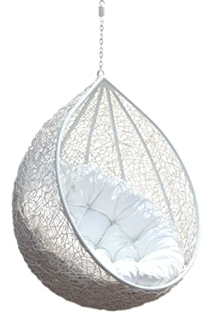 Carry Bird Outdoor Furniture Single Seater Swing, Beautiful White Color Swing Without Stand