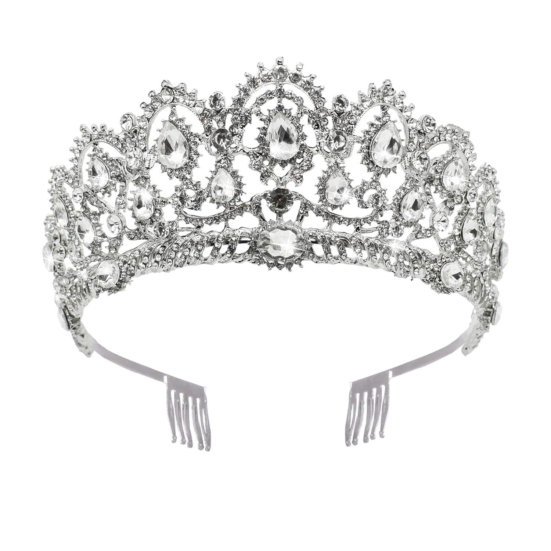 Baroque Crown Deep Blue Crystal Golden Plated Tiara Full Circle Hairband Wedding