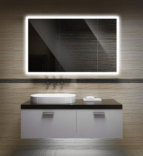 Badezimmerspiegel mit Beleuchtung LED Spiegel - 65x50 cm - Badspiegel mit  Licht - Design Spiegel für Bad und Gäste WC hinterleuchtet - beleuchteter  ...