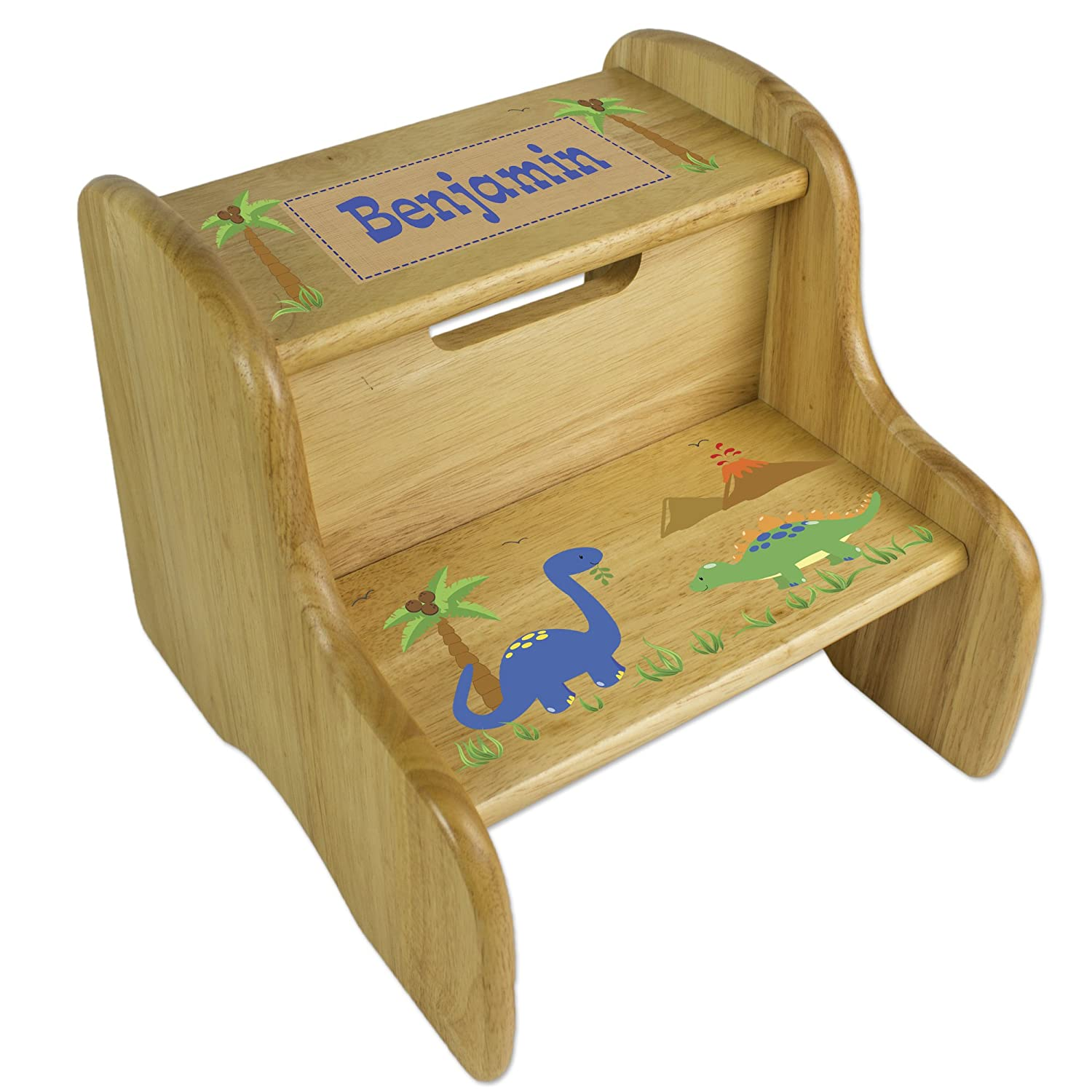 Personalized Wooden Dinosaur Step Stool MyBambino FIXE-NAT-217-PT
