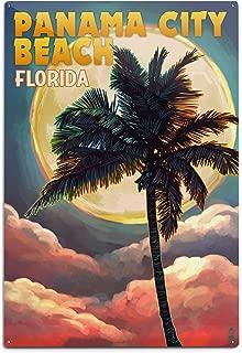 product image for Lantern Press Panama City Beach, Florida - Palm and Moon 52831 (6x9 Aluminum Wall Sign, Wall Decor Ready to Hang)