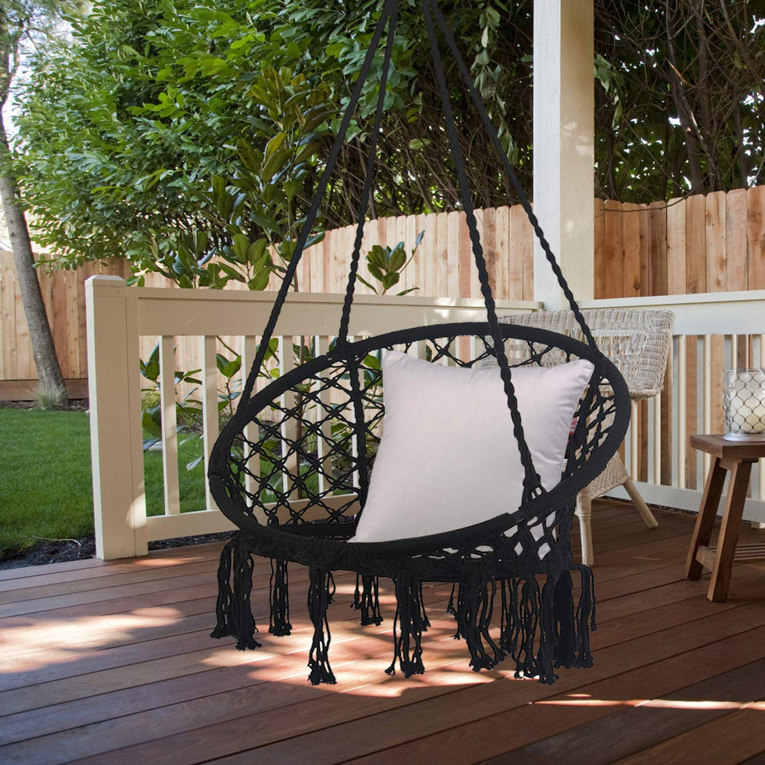 Bathonly Hammock Chair Macrame Swing,100% Handmade Knitted Hanging Swing Chair,Perfect for Indoor/Outhdoor,B edroom, Yard - 230lb Capacity