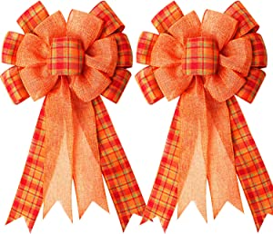 Iceyyyy Extra Large Fall Wreath Gift Bow -18.8x10.6inch Orange Buffalo Plaid Check Wreath Bow Swag Bow Thanksgiving Wreath Pre-Tied Bow For Fall, Thanksgiving, Christmas, Home Indoor Outdoor Ornaments