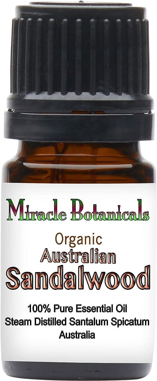 Miracle Botanicals Organic Australian Sandalwood Essential Oil - 100% Pure Santalum Spicatum - 5ml, 10ml, and 30ml Sizes - Therapeutic Grade - 5ml
