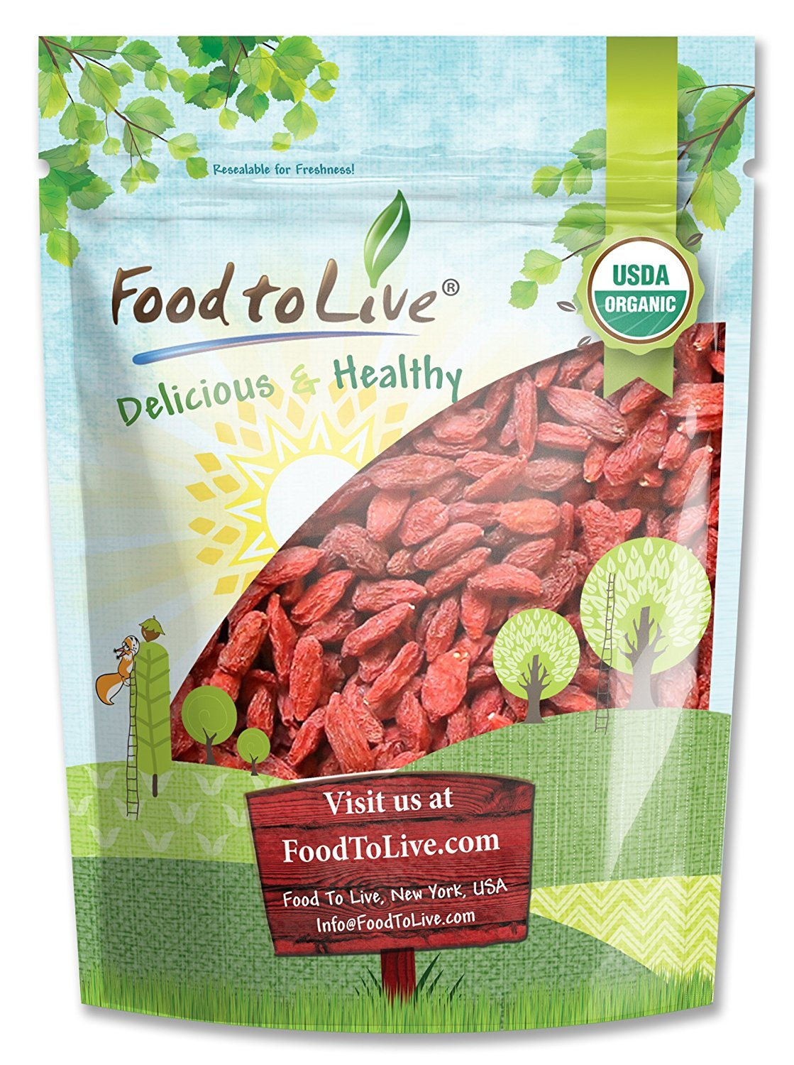 Organic Goji Berries By Food To Live Sun Dried Large And Juicy