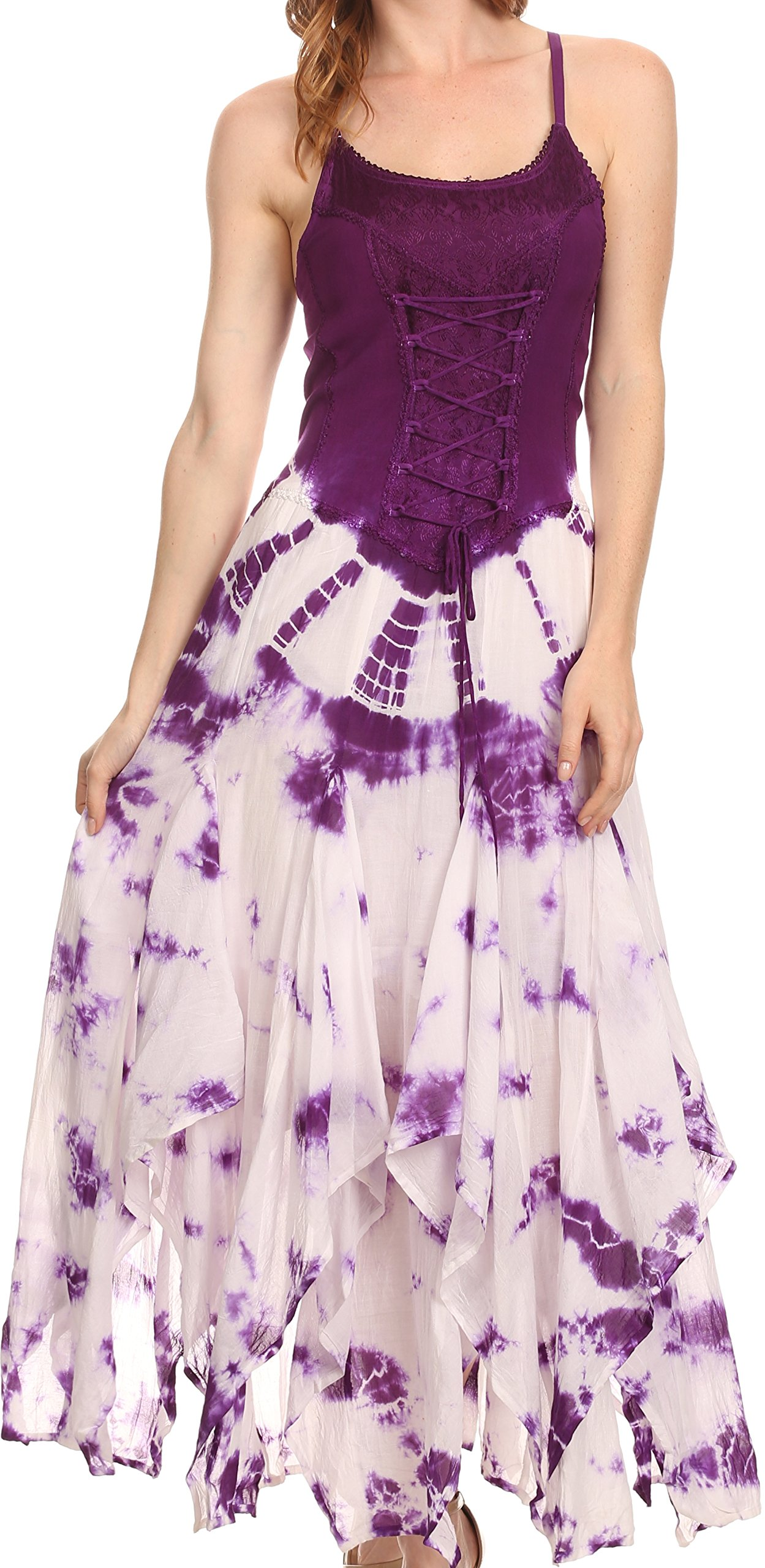 Sakkas 16209 - Sami Long Sleeveless Spaghetti Strap Handkerchief Hem Dress With Corset Top - Purple - OSP