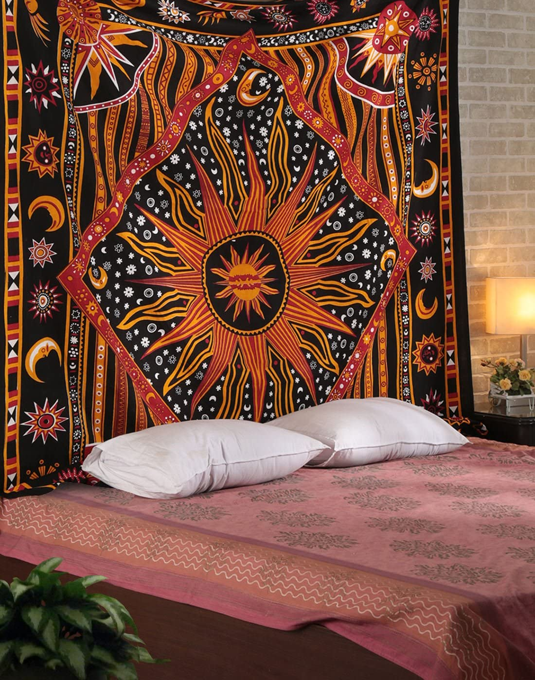Orange Sun Star Tapestry - Trippy Psychedelic Sun Moon Tapestries Exotic Celestial Wall Art Hanging for Home Decor - 90 X 84 Inches