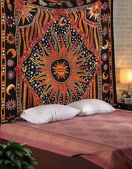 Amazon.com: Golden Black Sun Star Tapestry Exotic Celestial Wall Art ...