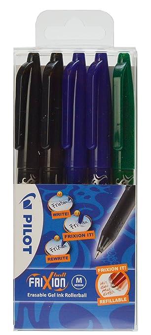 """132 opinioni per Pilot- Set di penne a sfera cancellabili """"Frixion Ball"""", 2 nere, 2 blu, 1 verde,"""