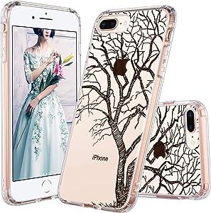 ULAK iPhone 7 Plus Case, iPhone 8 Plus Case Clear with Design Flexible Soft TPU Bumper Shock-Absorption Anti-Scratch Bumper Hard Back Cover for iPhone 7 Plus/8 Plus 5.5 inch, Drawn Tree