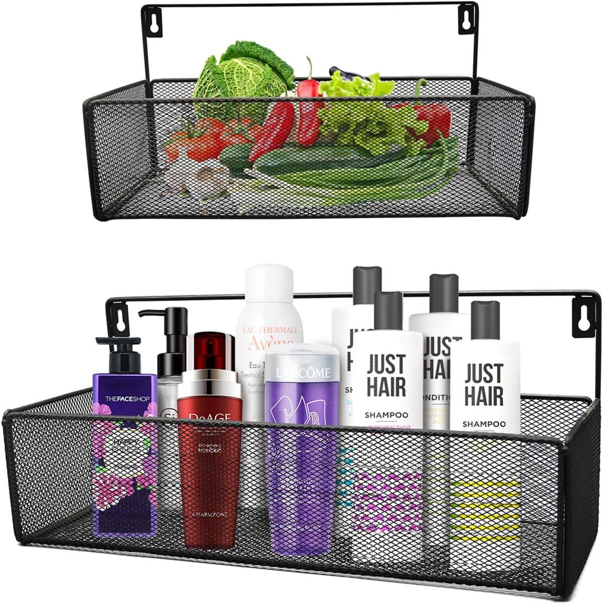 Swallow Bros Bathroom Shelf for Storage, Office Wall Organizers, Kitchen Spice Rack, 2 Pack, Black
