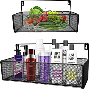 Swallow Bros Bathroom Shelf for Storage, Office Wall Organizers, Kitchen Spice Rack, 2 Pack, Black