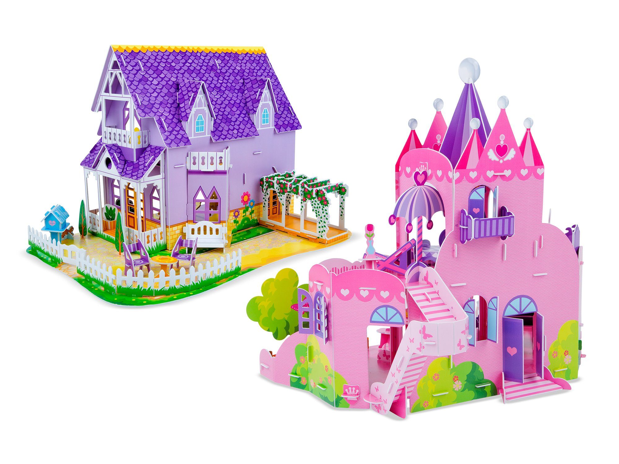 Melissa & Doug 3-D Puzzle Kits Set: Pretty Purple Dollhouse and Pink Palace