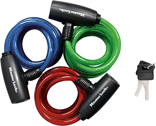 Bicycle Cable Lock in 3 finishes Spiral Cable Bicycle Lock