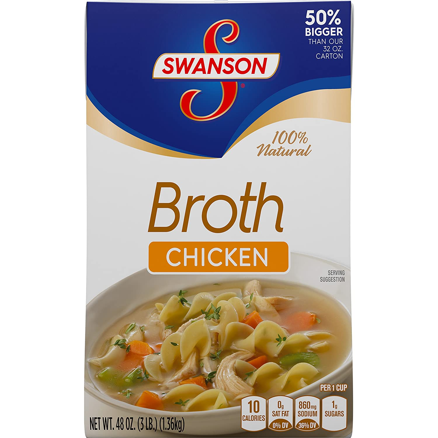Swanson Broth, Chicken, 48 Ounce (Pack of 8)