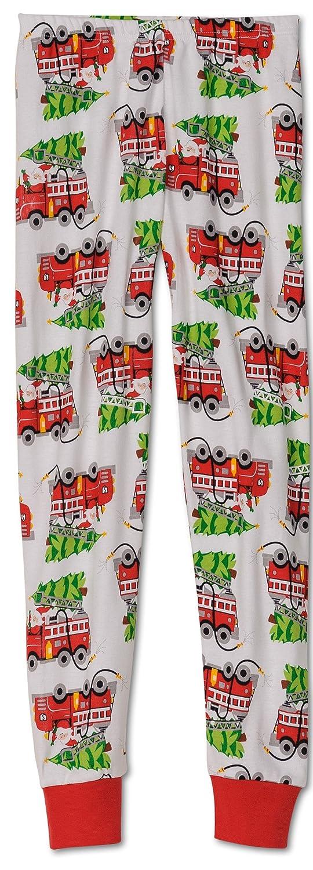 Saras Prints Big Boys Natural Santas Firetruck Pajamas Red