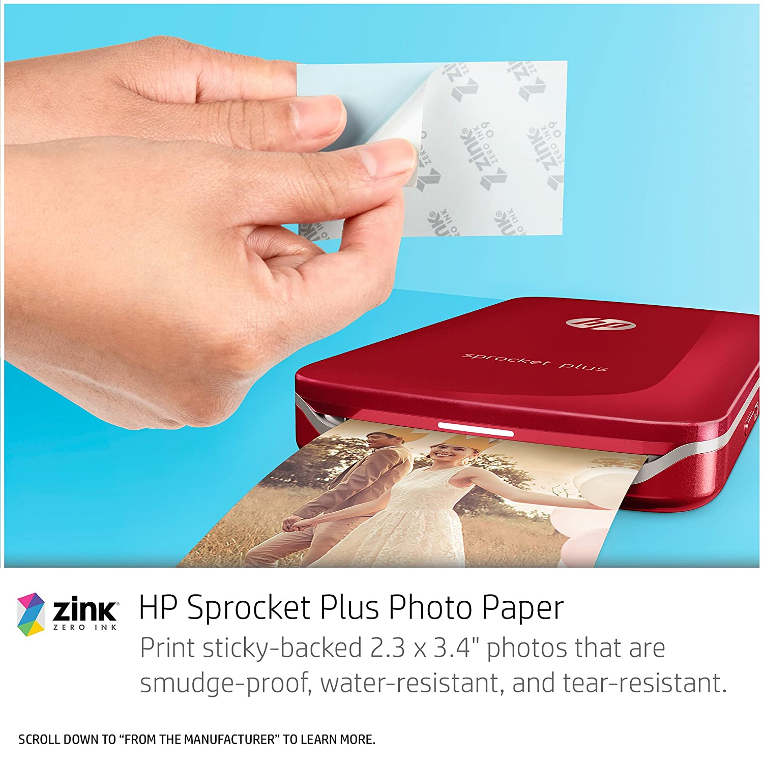 HP Sprocket Plus Instant Photo Printer Print 30/% Larger Photos on 2.3x3.4 Sticky-Backed Paper 2FR85A White