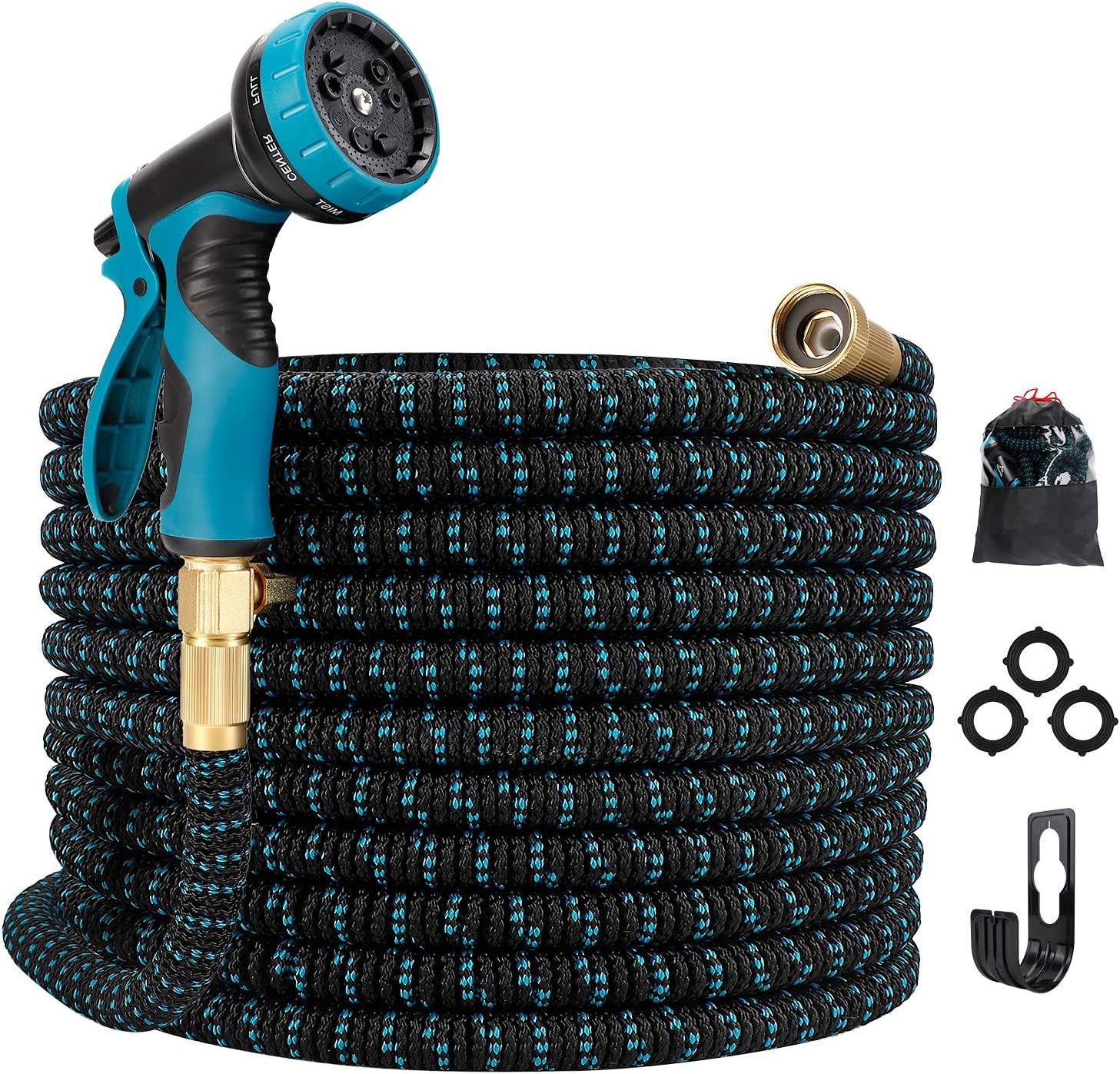 "Gpeng Expandable Garden Hose, Water Collapsible Hose with 9 Function Spray Nozzle, Durable 3-Layers Latex Core with 3/4"" Solid Brass Fittings, Lightweight Expanding Flexible Hose(25 ft)"