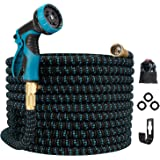 Gpeng 100ft Expandable Garden Hose, Water Collapsible Hose with 9 Function Spray Nozzle, Durable 3-Layers Latex Core…