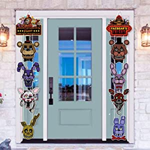 Five Night at Freddy Party Supplies Door Signs Banner – Five Night at Freddy Birthday Decorations for Boys Kids Baby Shower – Welcome Door Celebration Props Indoor Outdoor Wall Décor (10 Counts)