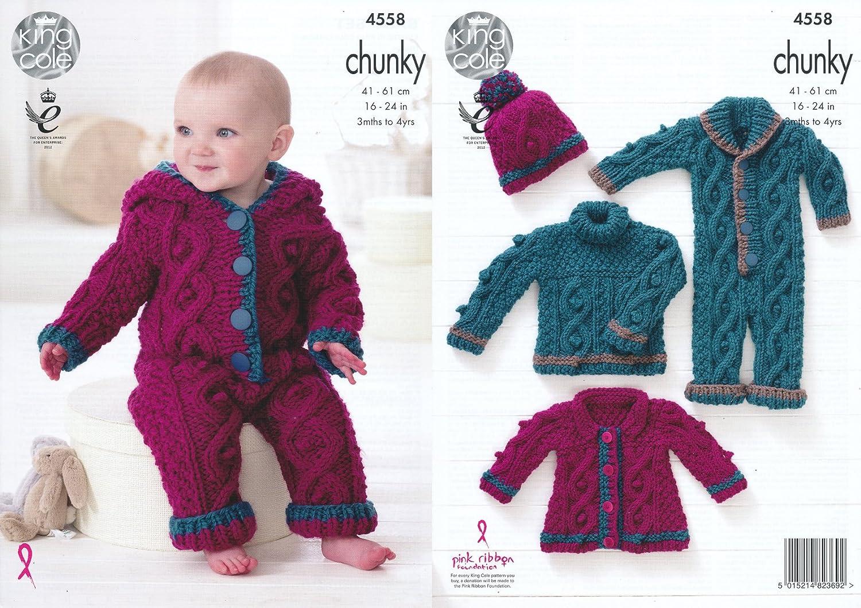 King Cole Baby Aran Coat,Sweater,Dress /& Hat Knitting Pattern 3136