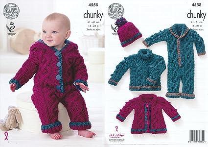 19e5da5c96cf King Cole Baby Chunky Knitting Pattern Cable Knit Sweater Coat ...