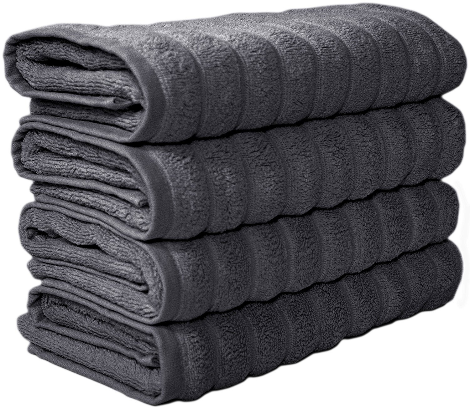 Classic Turkish Towels 4 Piece Hand Towel Set 20 x 32 inch - Luxury Wedding Towels Made With 100% Turkish Cotton, Jacquard Rib Style (Grey)