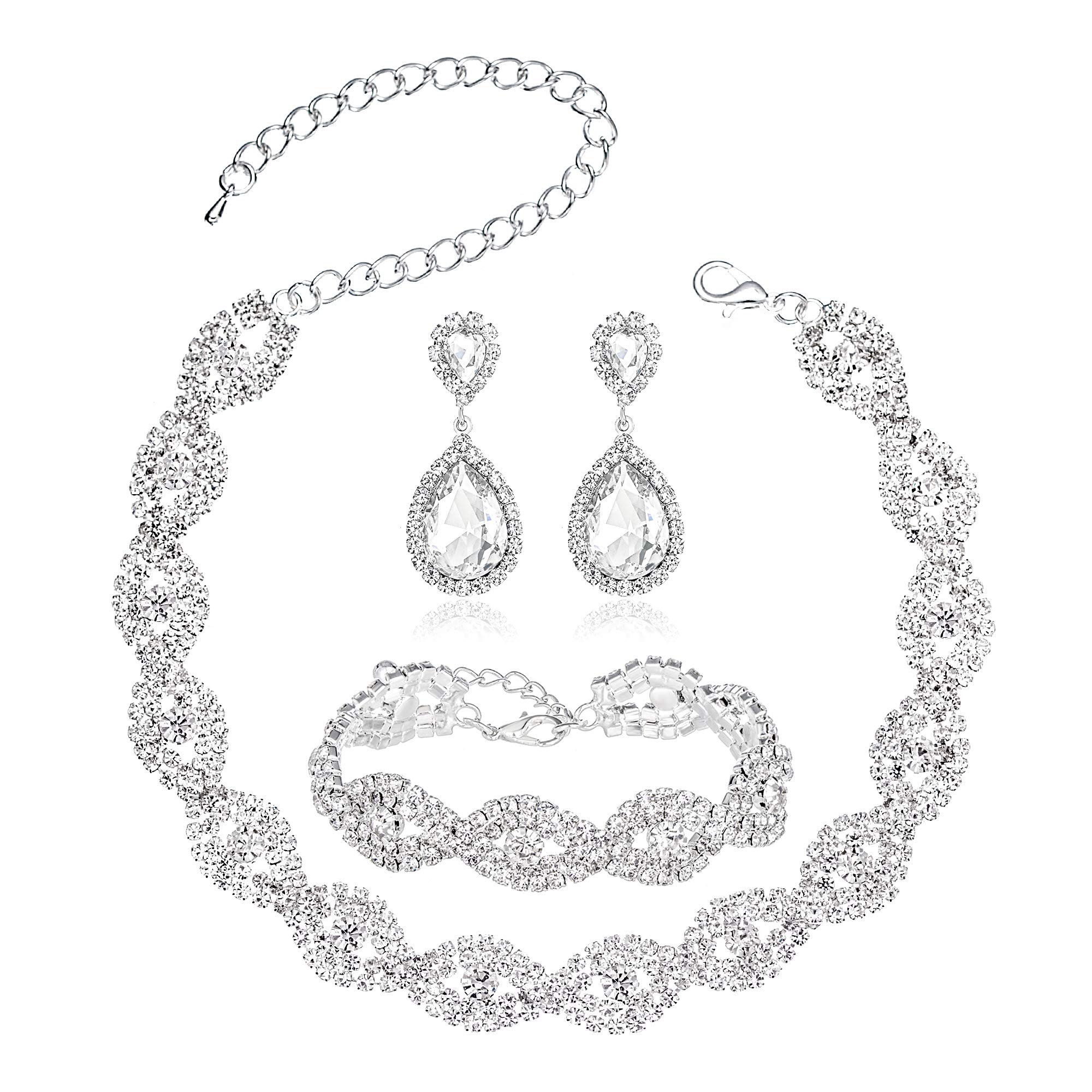 Miraculous Garden Rhinestone Choker Necklace Jewelry Sets for Women - Necklace Bracelet Crystal Teardrop Dangle Earring Sets Party Mother's Day Prom Wedding Fashion Jewelry Gift (2)