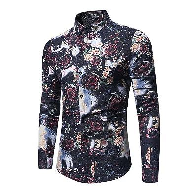 af4d77c9d Woodin Stylish Floral Print Mens Shirts Cotton Long Sleeve Social 2018  Casual Shirts For Men M
