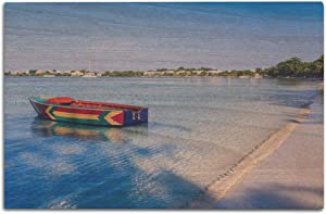 Lantern Press Bloody Bay Beach, Jamaica - Boat Painted in Jamaican Colors 9027978 (12x18 Wood Wall Sign, Wall Decor Ready to Hang)