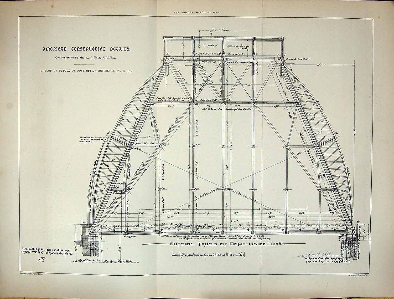 Erbauer 1884 Amerikanischer Dach Kuppel Post Gebude St Louissturm Cupola Schematic Kche Haushalt
