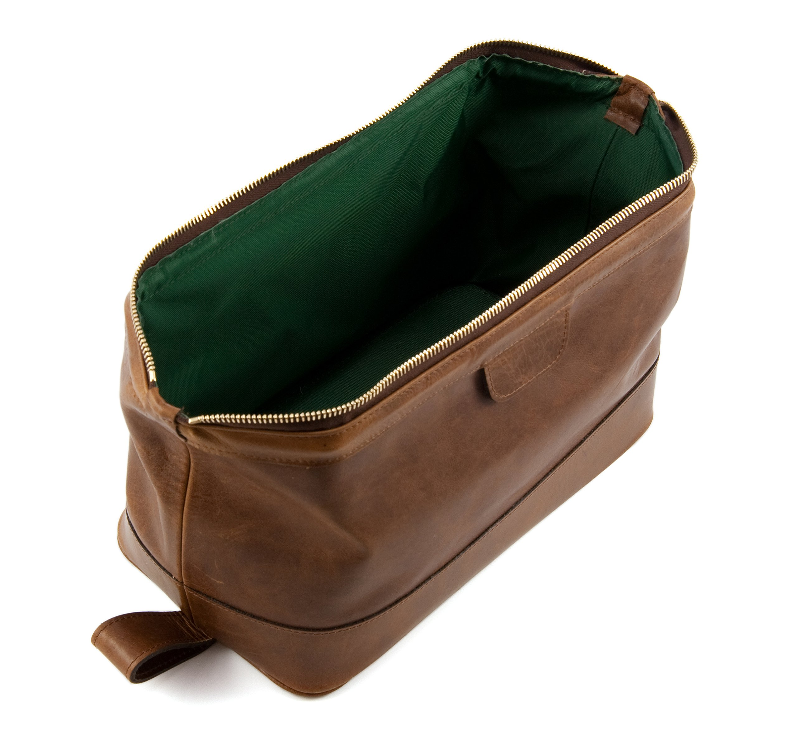 Daines and Hathaway Large Rusty Blaze Brown Leather Wash Bag by Daines and Hathaway