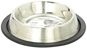 Bergan Stainless Steel Non-Skid/Non-Tip Pet Bowl with Ridges